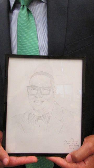 Eric Best's drawing of IPS Superintendent Lewis Ferebee.