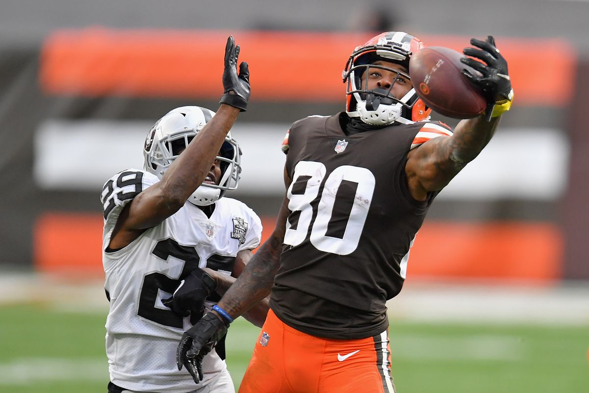 Wide receiver Jarvis Landry #80 of the Cleveland Browns catches a 25-yard reception past free safety Lamarcus Joyner #29 of the Las Vegas Raiders during the second half of the NFL game at FirstEnergy Stadium on November 01, 2020 in Cleveland, Ohio. The Raiders defeated the Browns 16-6.