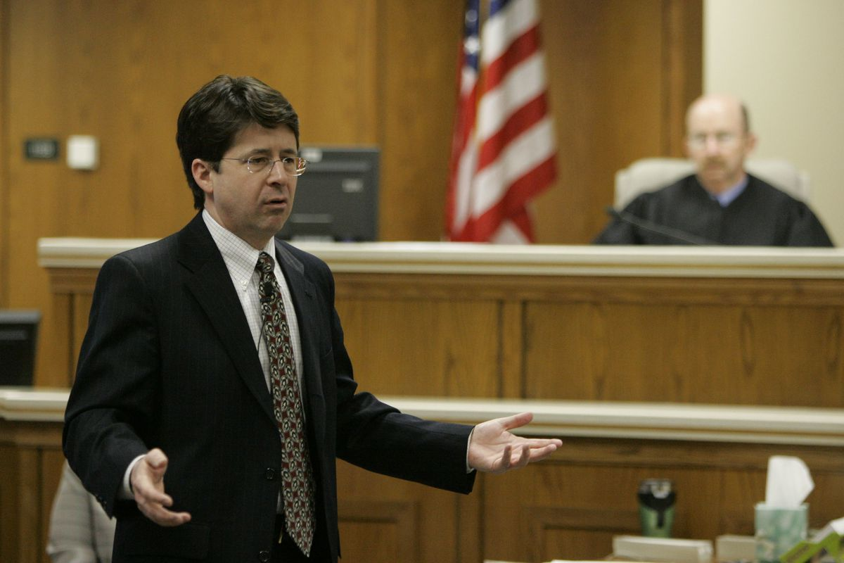Steven Avery's defense attorney Dean Strang gives his closing arguments in the courtroom on Thursday, March 15, 2007, at the Calumet County Courthouse in Chilton, Wis. Avery is accused, along with his 17-year-old nephew, of killing Teresa Halbach, 25, aft