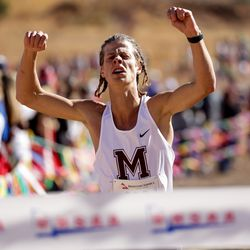 Gabe Sargent of Morgan places first in the 3A boys state cross-country championship race at Soldier Hollow in Midway on Thursday, Oct. 22, 2020.