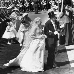 Dressed in a princess-worthy wedding gown by Academy Award-winning designer Helen Rose, Grace Kelly exchanged vows with Prince Rainier of Monaco on April 19th, 1956. The dress was a gift from her film studio, Metro-Goldwyn-Mayer.