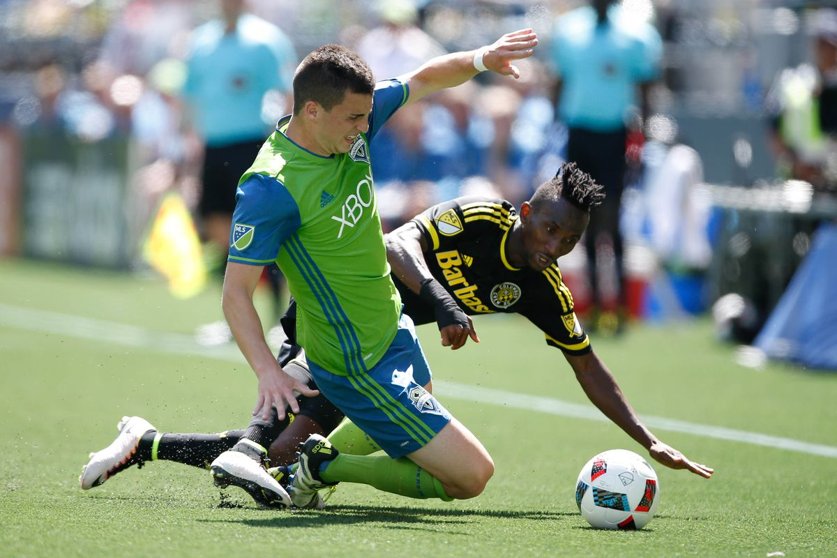 Harrison Afful and Columbus stumbled at Seattle on Saturday.