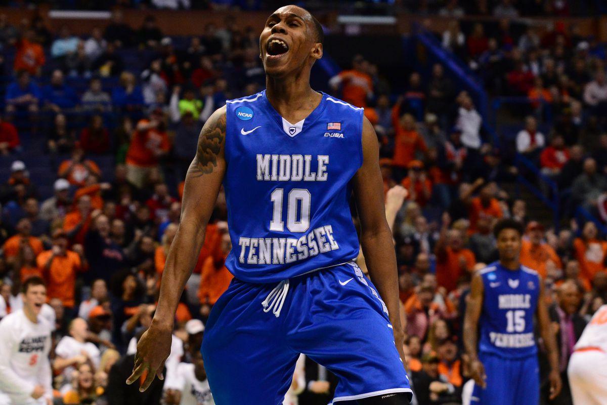 Jaquan Raymond celebrates during the NCAA tournament last season.