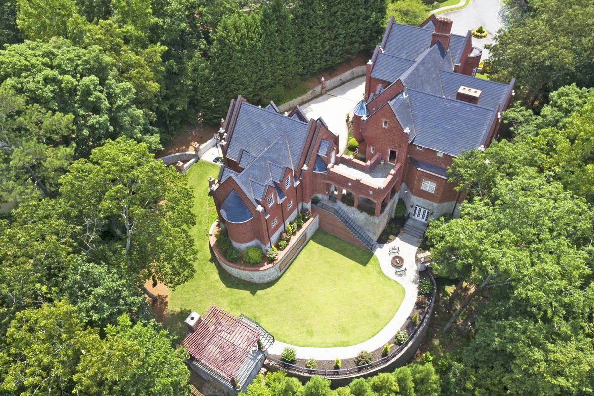 A gaudy Cobb County estate as seen from above, outside Atlanta.