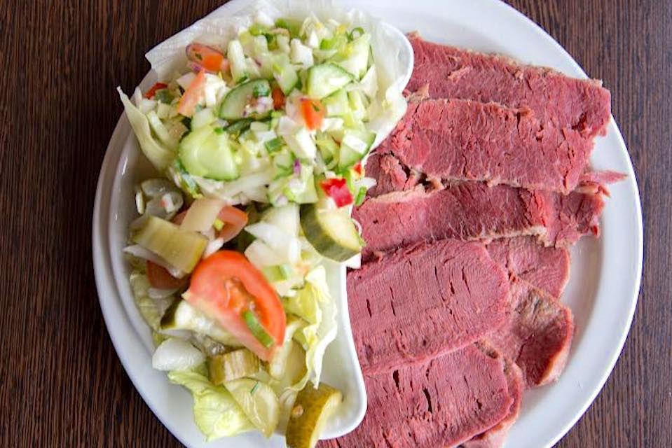 Salt beef and chopped salad at B&K salt beef bar in west London