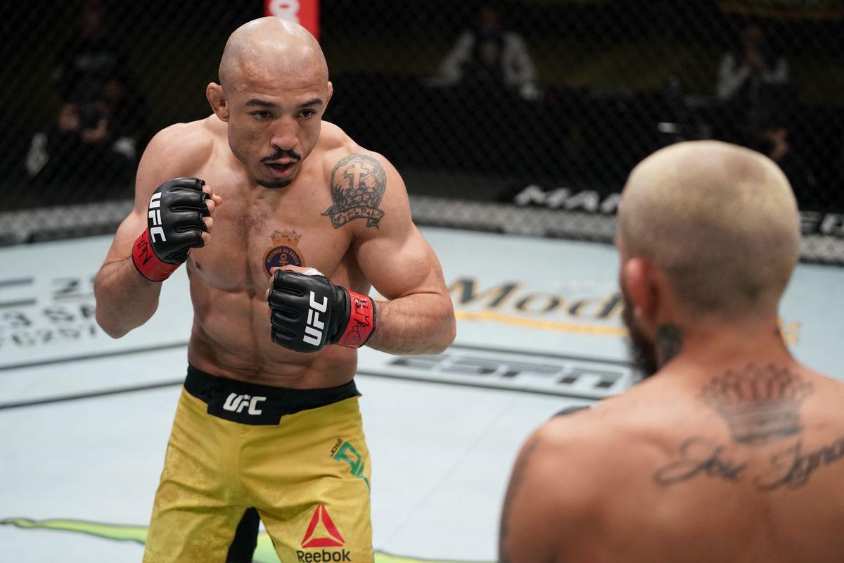 Jose Aldo during his fight with Marlon Vera.