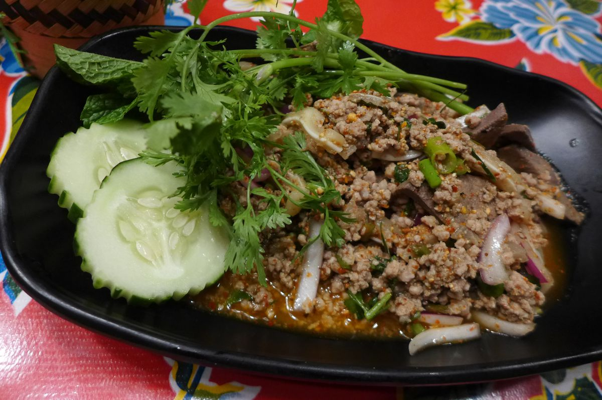 Pork larb with pig ears and liver