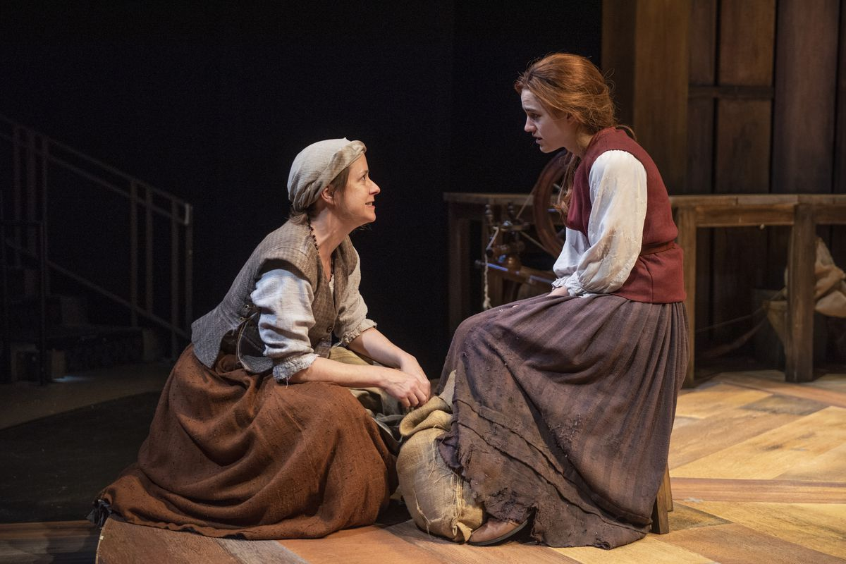 """Kate Fry (left) and  Grace Smith in a scene from """"Mother of the Maid"""" at Northlight Theatre."""
