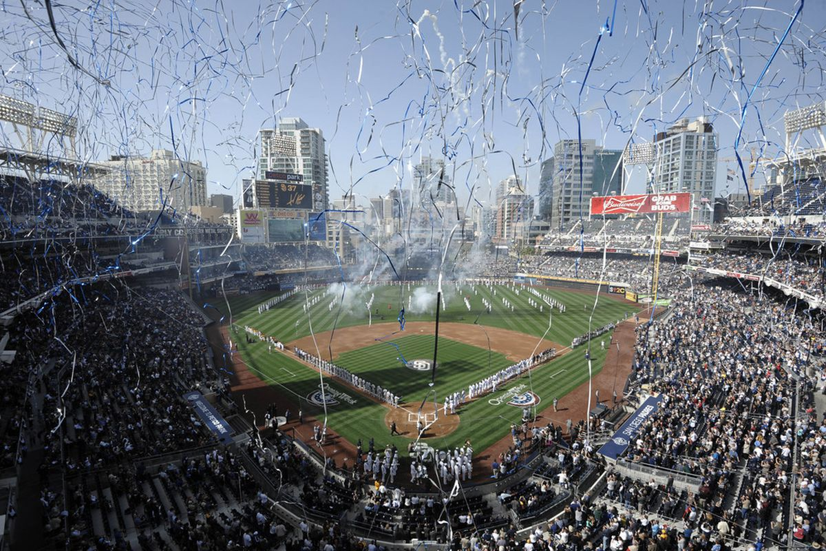 SAN DIEGO, CA - APRIL 5 : Streamers fall onto the field before the game between the Los Angeles Dodgers and the San Diego Padres in the home opener at Petco Park on April 5, 2012 in San Diego, California.  (Photo by Denis Poroy/Getty Images)