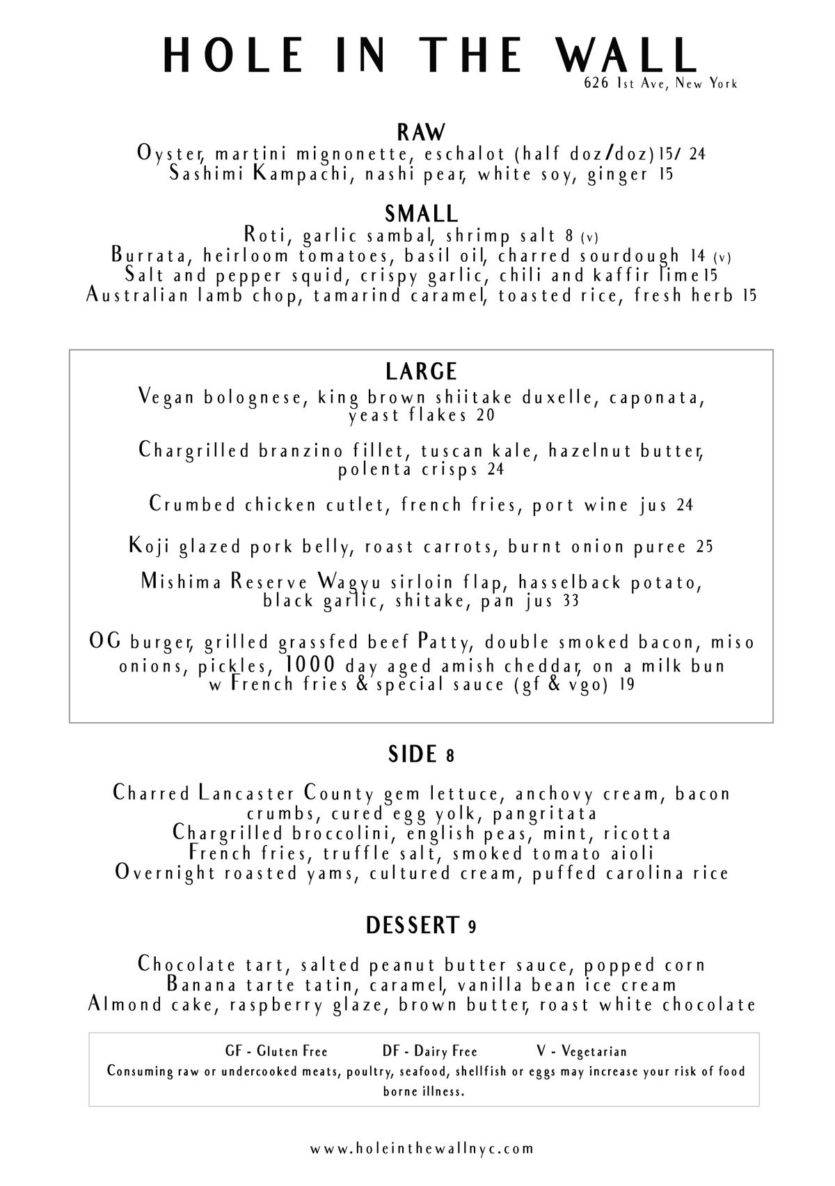 Hole in the Wall dinner menu