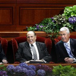 Henry B. Eyring,  President Thomas S. Monson, and  Dieter F. Uchtdorf relax before the start of the morning session of the182nd Semiannual General Conference for The Church of Jesus Christ of Latter-day Saints in the Conference Center in Salt Lake City on Saturday, Oct. 6, 2012.