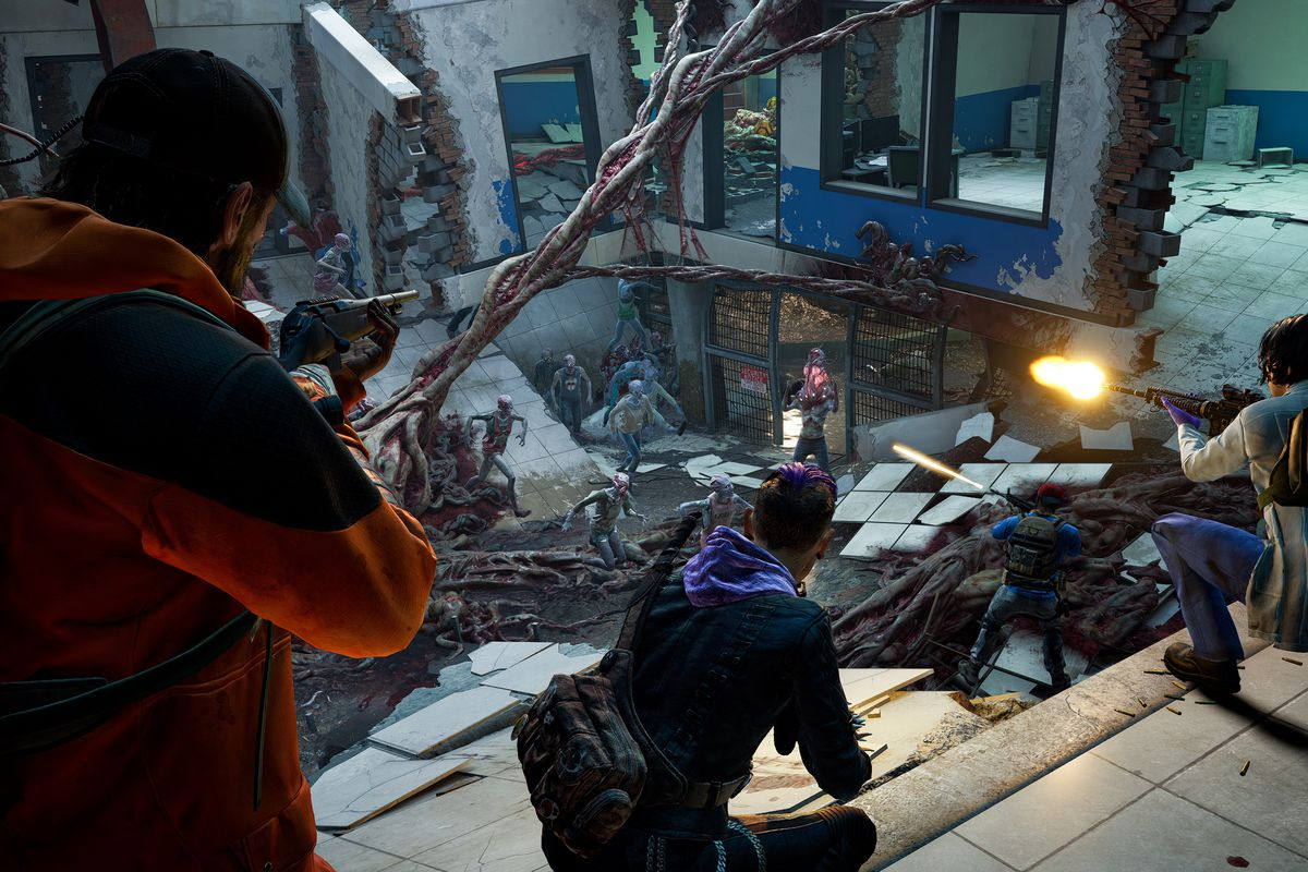 A group of humans fights a swarm of zombies in Back 4 Blood