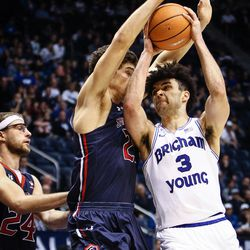 Brigham Young Cougars guard Elijah Bryant (3) shoots over Saint Mary's Evan Fitzner (21) as the BYU Cougars take on the Saint Mary's Gaels in the Marriott Center in Provo on Saturday, Dec. 30, 2017.