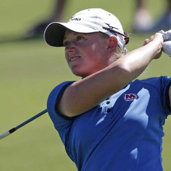 Stacy Lewis watches her approach shot to the 10th green during final round play in the Navistar LPGA Classic golf tournament, Sunday, Sept. 23, 2012, at the Robert Trent Jones Golf Trail in Prattville, Ala.