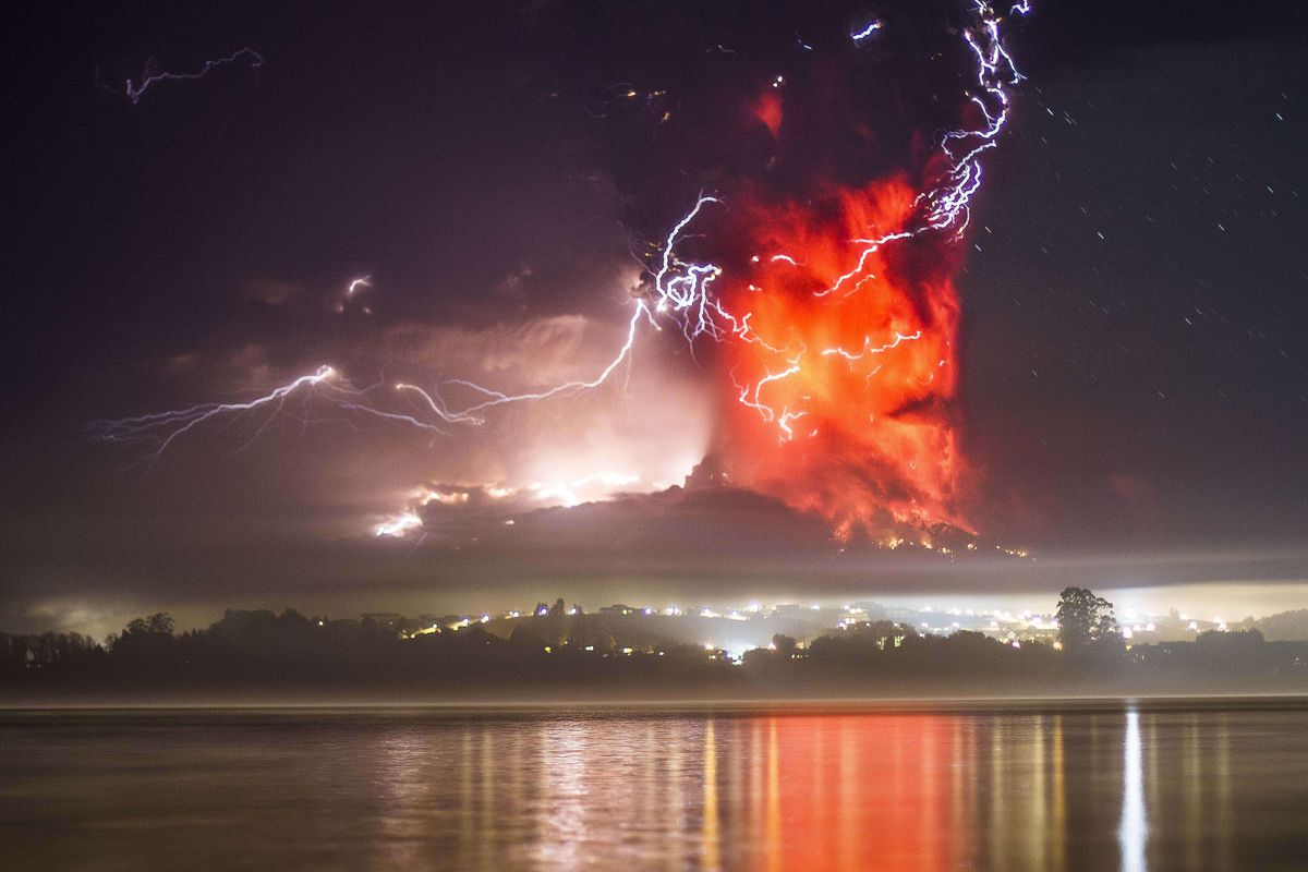 This view from Puerto Varas, southern Chile, shows a high column of ash and lava spewing from the Calbuco volcano, on April 23, 2015. (David Cortes Serey/AFP/Getty Images)