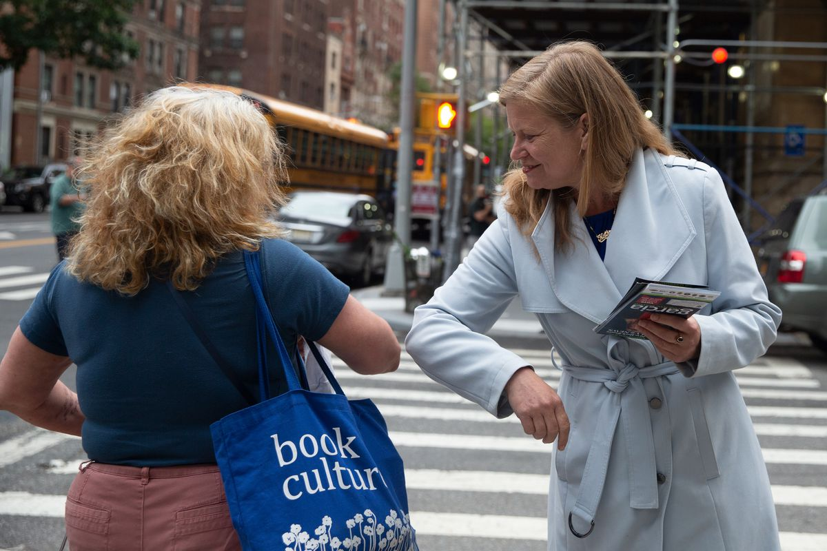 Mayoral candidate Kathryn Garcia tried to connect with voters on the Upper West Side on Primary Day, June 22, 2021.