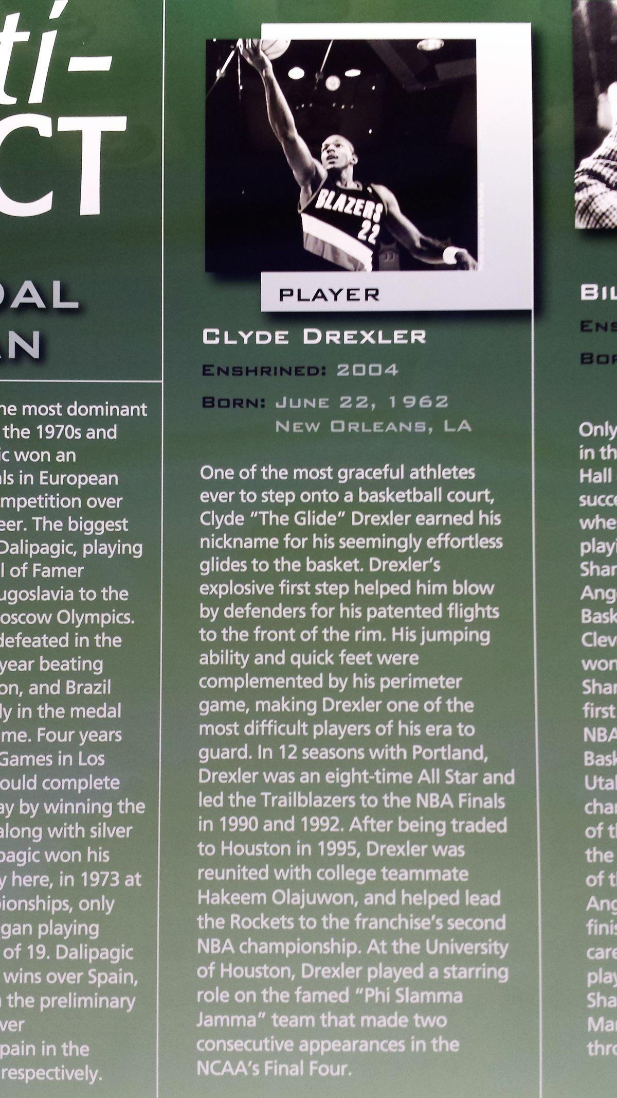 Clyde Drexler's plaque
