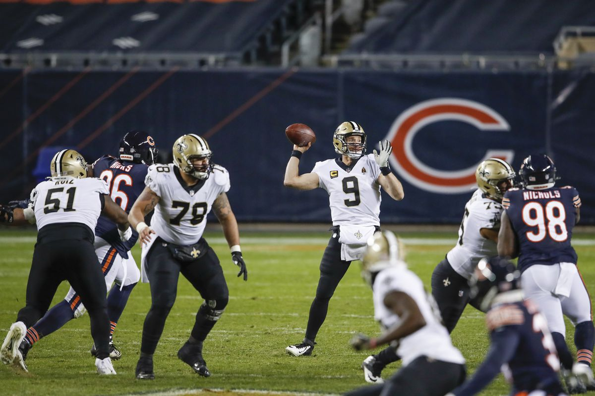 Drew Brees and the Saints beat the Bears in overtime in November.