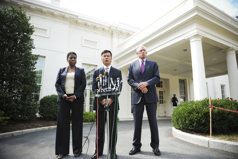 Commerce Secretary Gary Locke speaks to reporters, flanked by Jim McNerney (right), CEO of The Boeing Company, and Ursula Burns (left), CEO of Xerox Corporation after attending the President Obama's Export Council meeting on September 16, 2010.