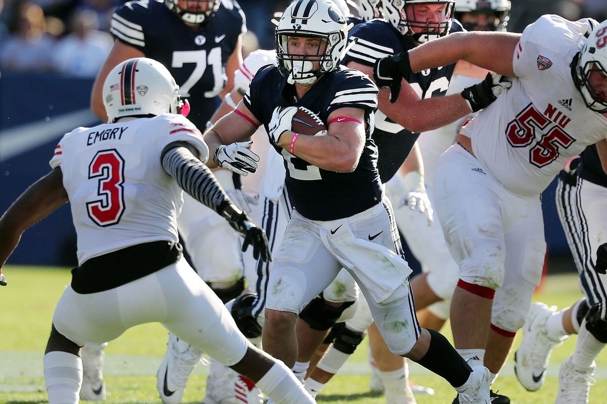 Brigham Young Cougars running back Matt Hadley runs the ball against the Northern Illinois Huskies during NCAA football in Provo on Saturday, Oct. 27, 2018.