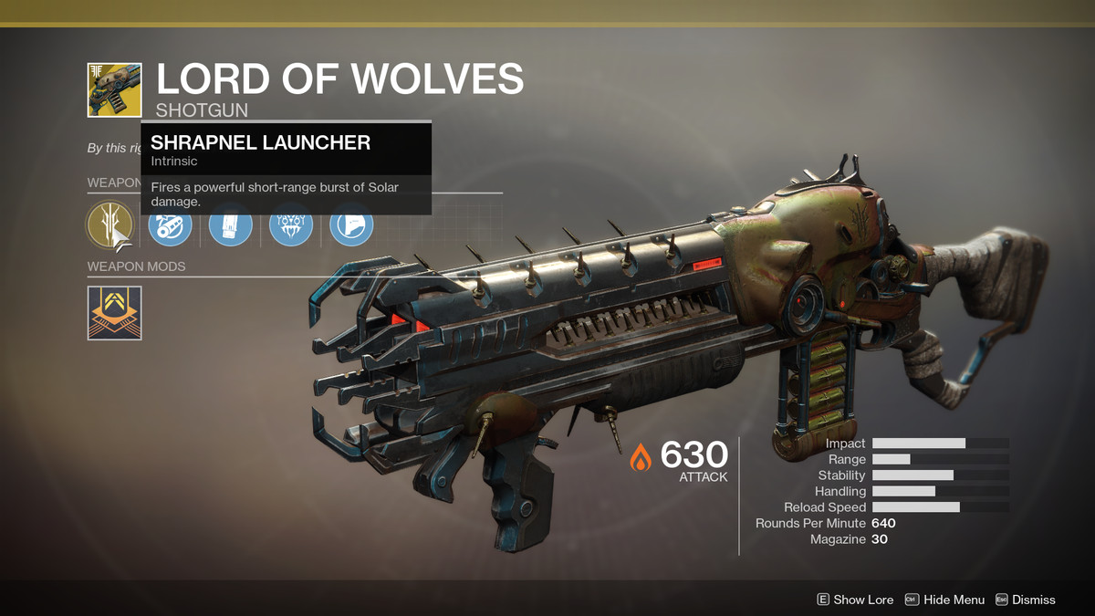 Lord of Wolves Exotic Destiny 2
