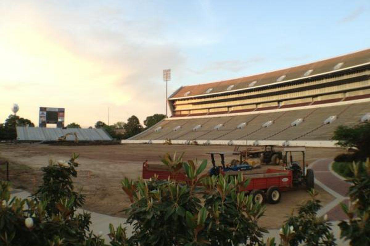 "laying new sod at Scott Field last week (via Brandon Marcello's <a href=""https://twitter.com/#!/bmarcello/media/slideshow?url=pic.twitter.com%2F3zsXvoAn"" target=""new"">Twitter</a>)"