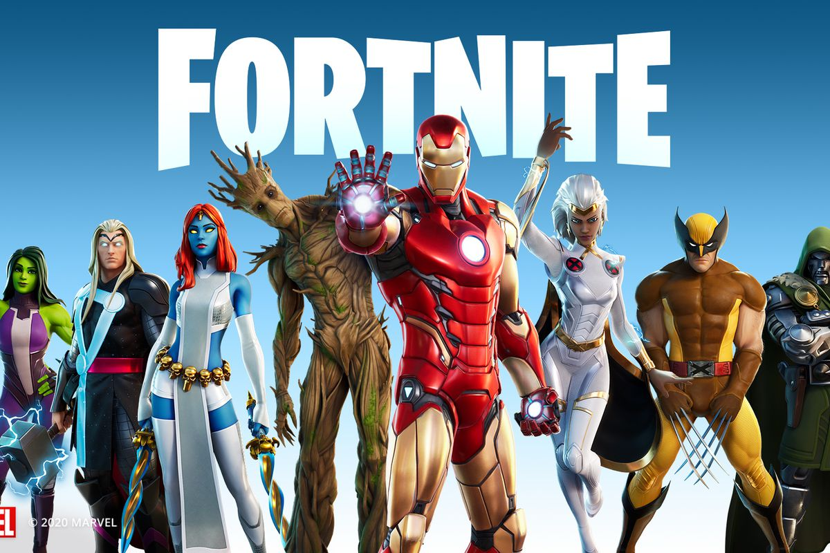All of Fortnite's Marvel-themed skins standing side by side