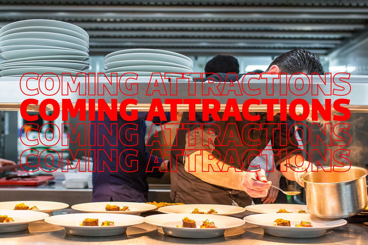 Coming attractions stock art