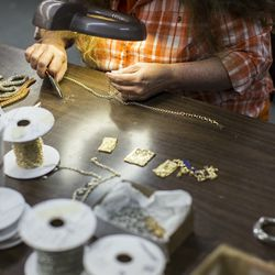 Each step of the jewelry process involves hand work. Since not everything detail on the jewelry is mesh, there are some casted components from vendors in MA and RI, which are added and finished by hand in the factory.