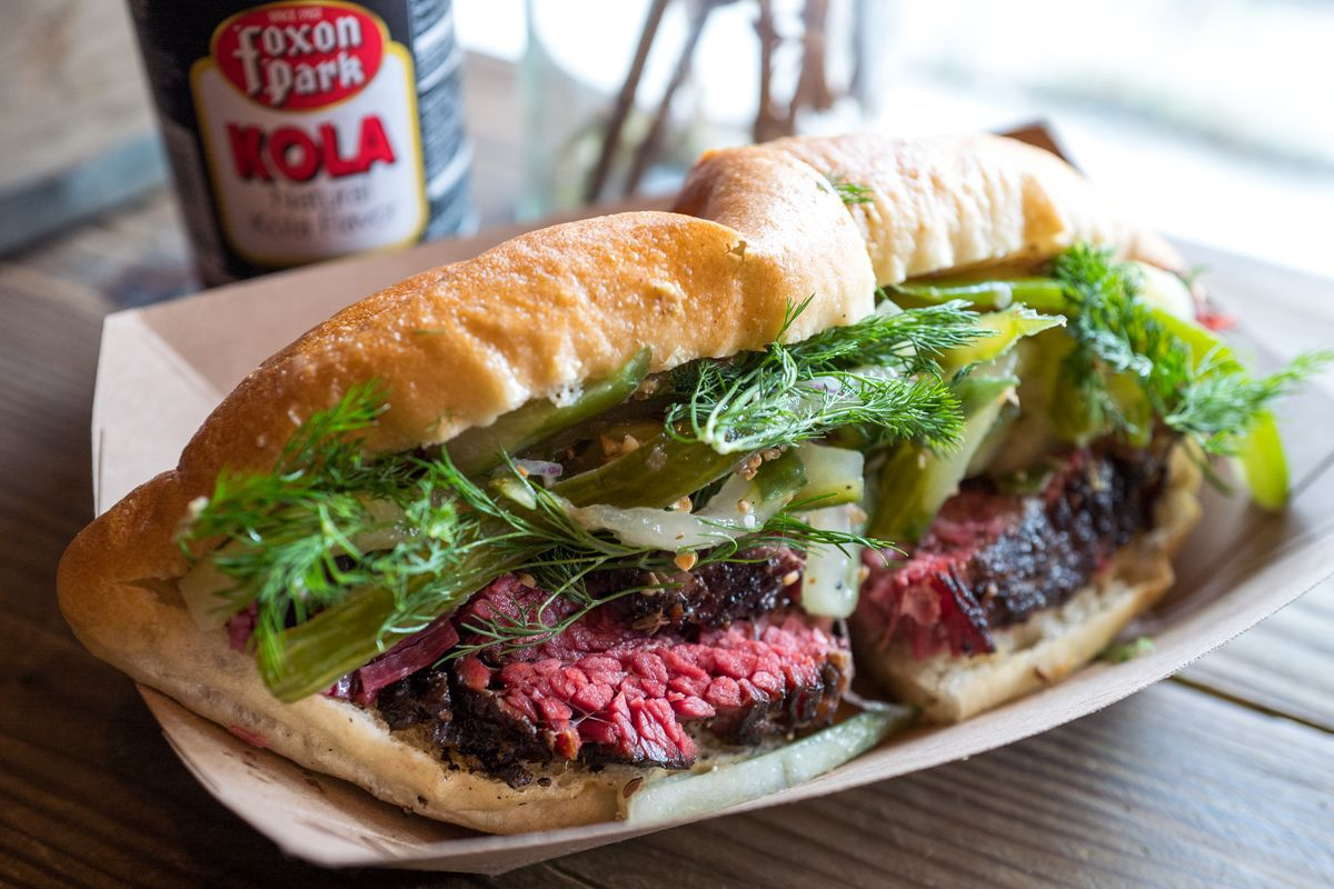 The overstuffed pastrami sandwich with dill from Harry & Ida's Meat and SupplyCo.