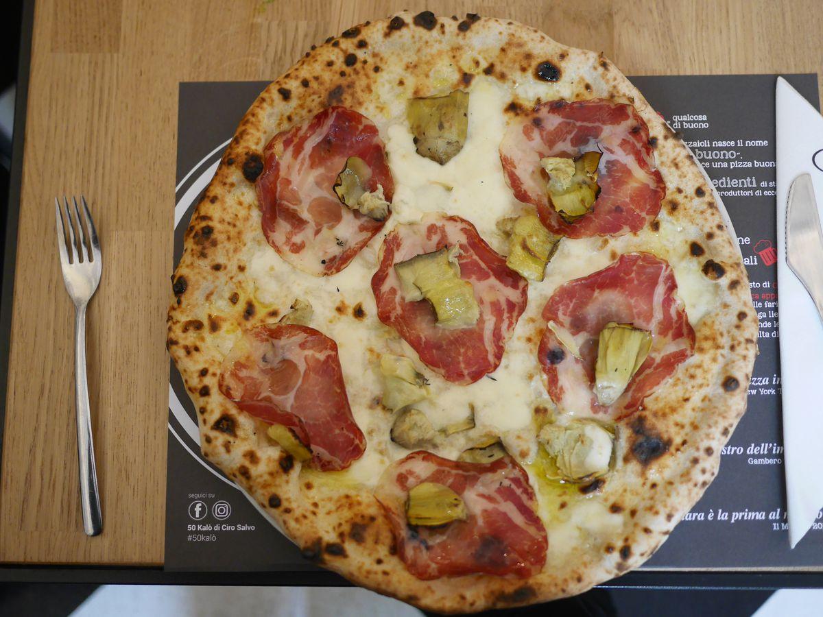Artichoke and capocollo pizza at 50 Kalò di Ciro Salvo Pizzeria, near Trafalgar Square London