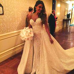 In true Sofia Vergara fashion, the Modern Family actress chose a curve-hugging Zuhair Murad dress to proclaim her love for Joe Manganiello on November 22nd, 2015.