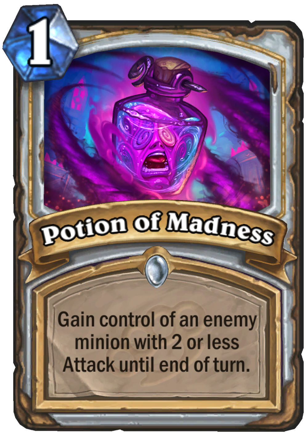This image depicts the Hearthstone: Mean Streets of Gadgetzan card Potion of Madness. In the card art, a purple-and-blue potion bottle floats in a purple haze of tendrils. Within the bottle, a crazed face is depicted, mouth open as though screaming. The c