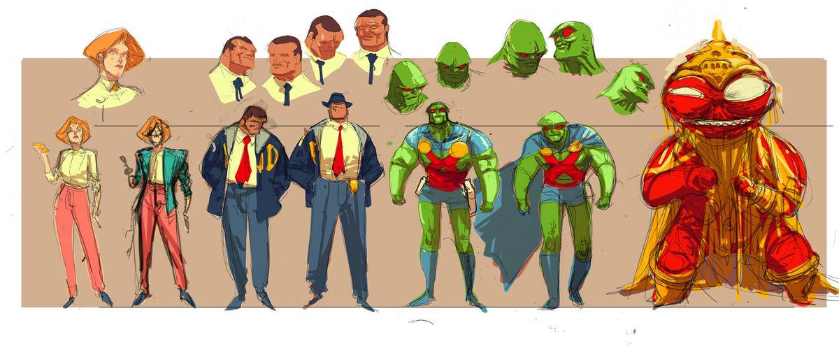 Character turnarounds for Martian Manhunter, DC Comics (2018).