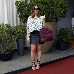 """NY blogger Hallie Wilson of <a href=""""http://coralsandcognacs.com/""""target=""""_blank"""">Corals and Cognacs</a> wearing an Opening Ceremony sweater, a Target skirt, a 3.1 Phillip Lim bag, Schutz heels, Chanel sunglasses and a necklace from Lemon Stripes."""