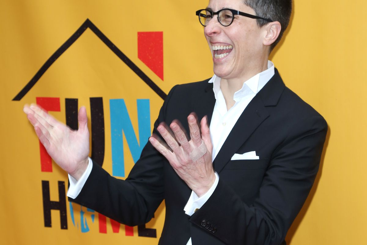 Alison Bechdel on the opening night of the Broadway adaptation of Fun Home.