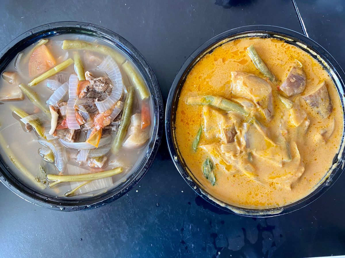 Beef sinigang and beef kare-kare