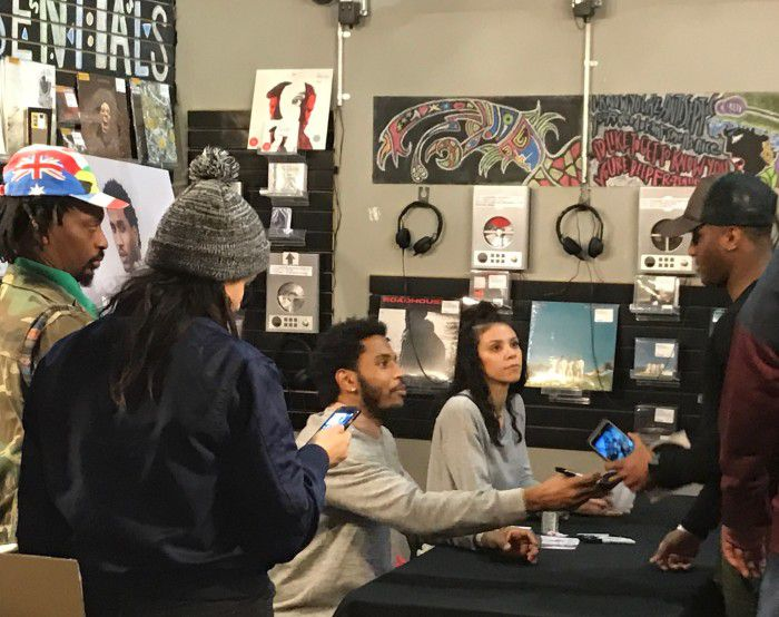 Trey signing album for a fan at Rough Trade NYC.