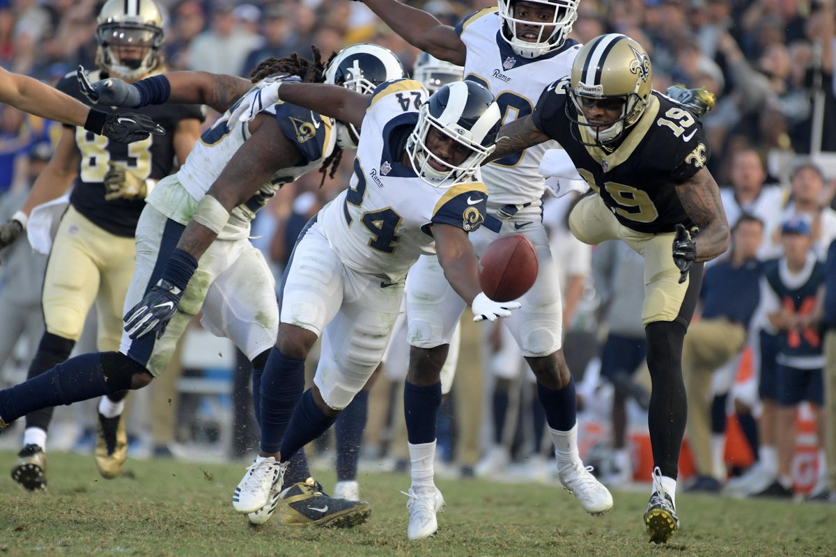 Los Angeles Rams CB Blake Countess breaks up a pass intended for New Orleans Saints WR Ted Ginn in Week 12, November 26, 2017.