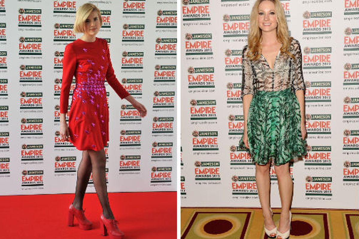 Aygness Deyn and Downton Abbey's Joanne Froggatt were quirky and colorful at last night's Empire Awards in London