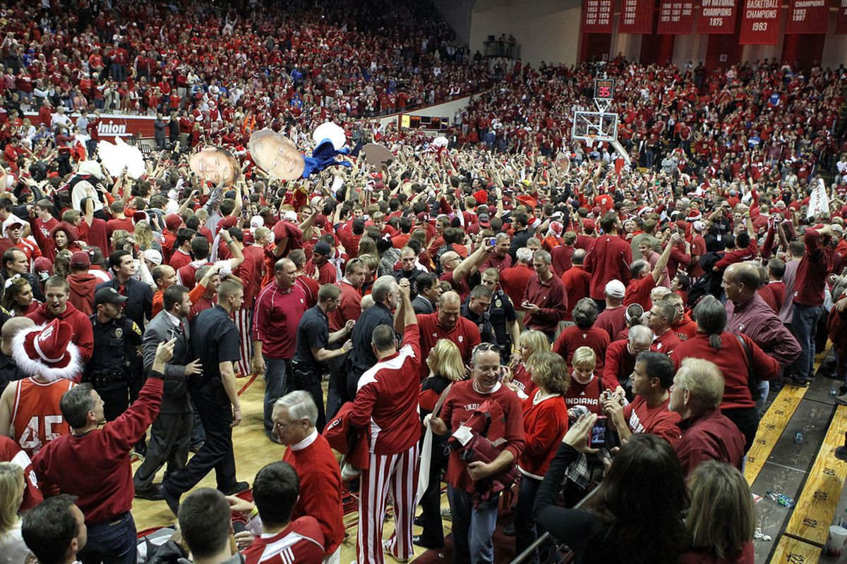 BLOOMINGTON, IN - DECEMBER 10: The fans rushed the court after the Indiana Hoosiers beat the Kentucky Wildcats 73-72 in the game at Assembly Hall on December 10, 2011 in Bloomington, Indiana.  (Photo by Andy Lyons/Getty Images)