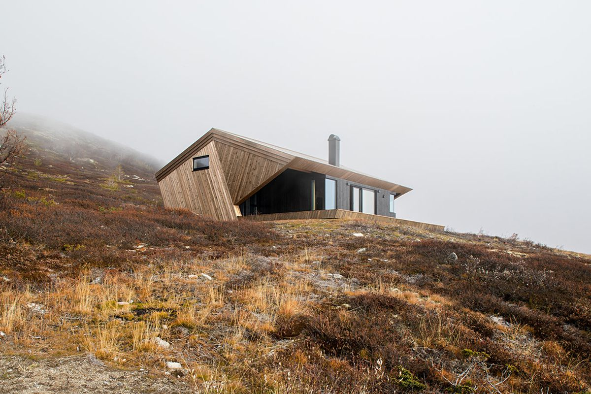 Wood cabin with angled roof