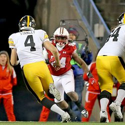 In a defining moment, Chris Orr (#54) fills in on an Iowa QB draw. Iowa QB Nate Stanley (#4) was stopped short of the goal line in his attempted 2 point conversion. It would have tied the game.