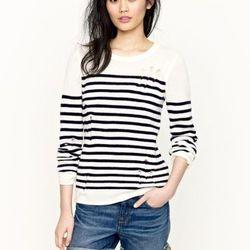 "<a href=""http://www.jcrew.com/AST/filterAsst/women_knit_filter/stripesandgraphics/PRDOVR~94996/94996.jsp"">Serge sweater</a> in white or orange, $295"