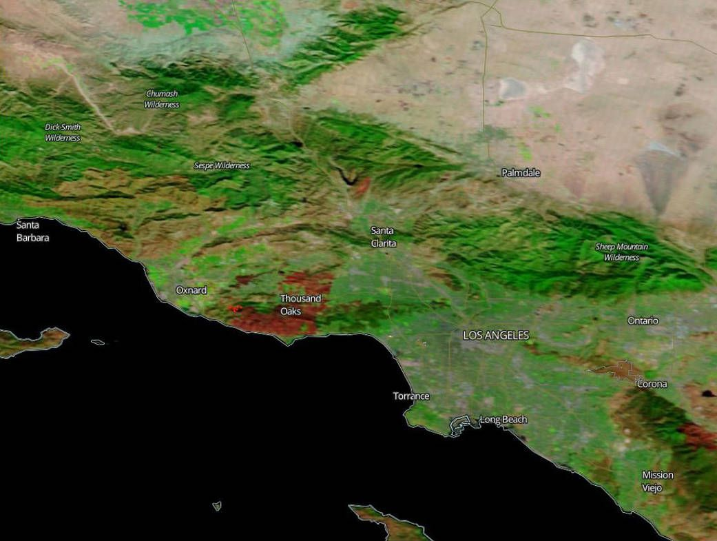 A satellite image of the Woolsey Fire burn scar.