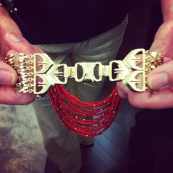 The gold clasp on this Campari necklace was inspired by the intricate details of Egyptian doors.