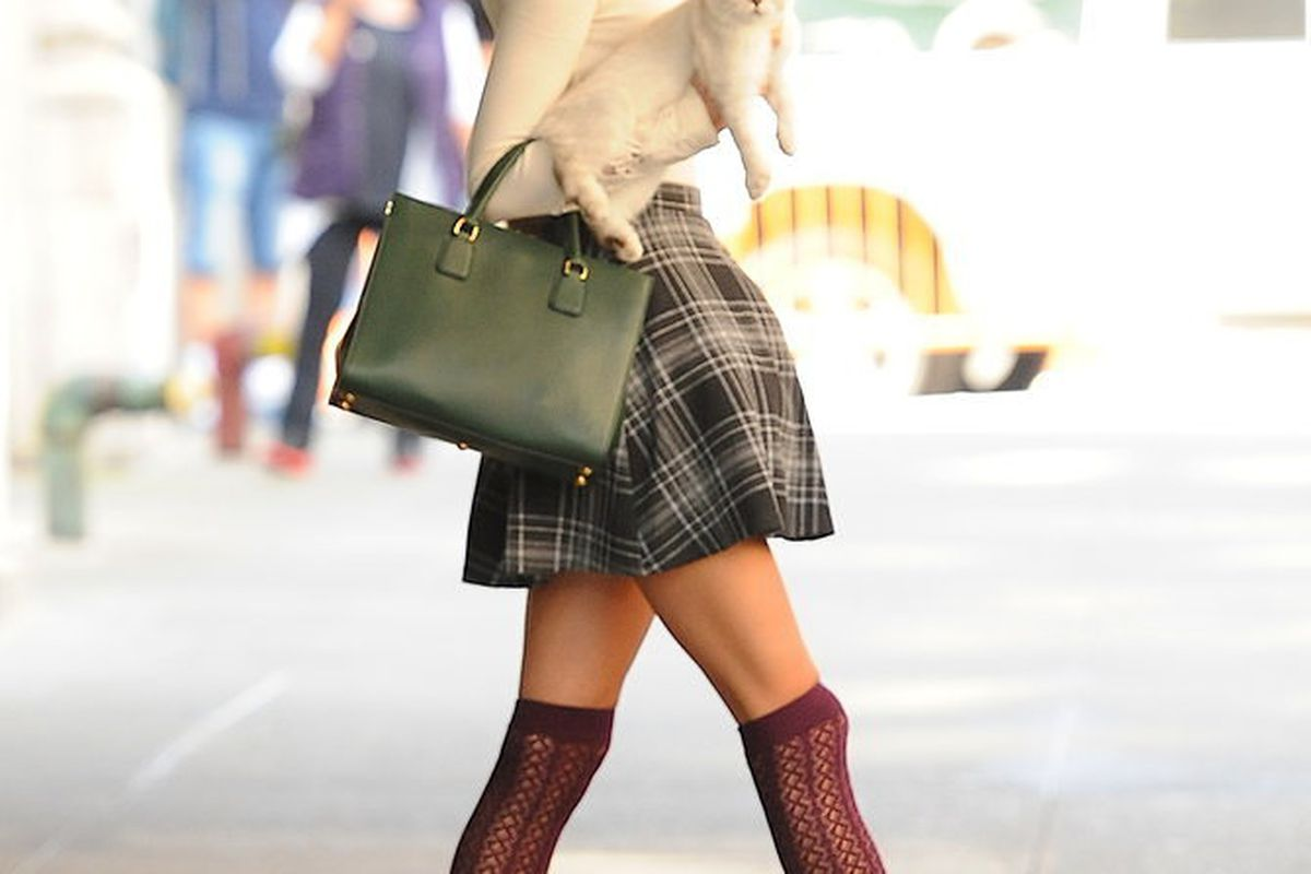 Taylor has even worked a cat in to her bag-holding ways. Image via Getty