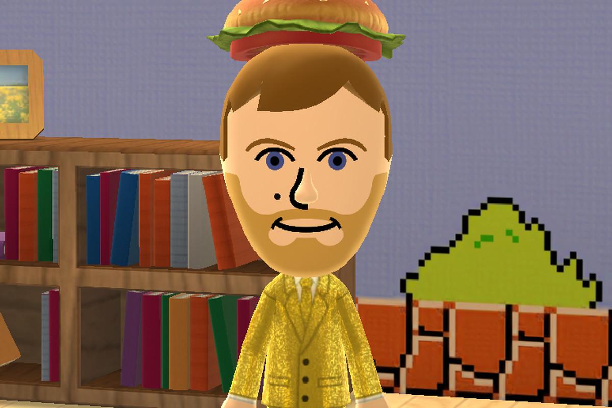 A screenshot of Michael McWhertor's Miitomo character, who will soon lose his wonderful clothing.