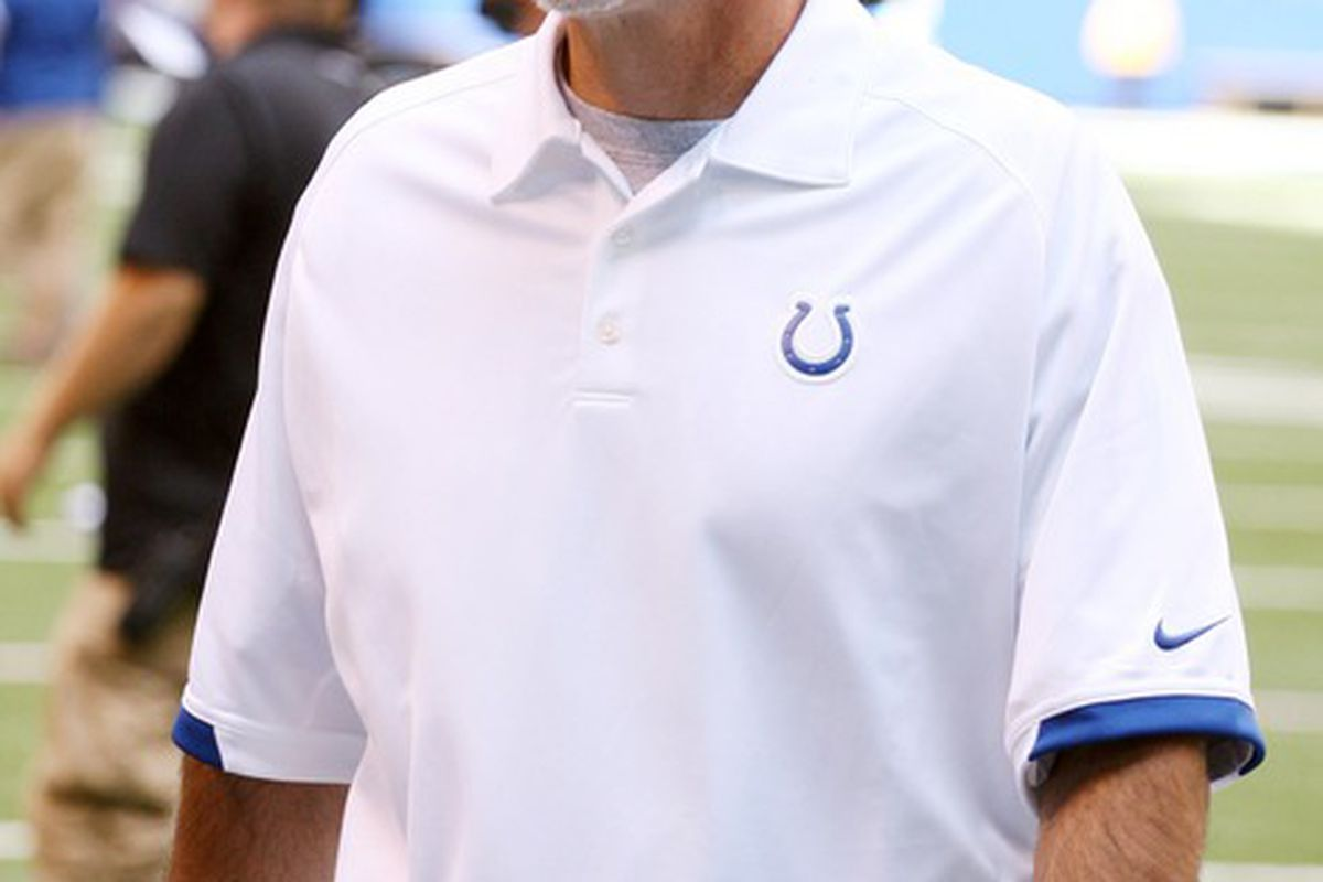 June 13, 2012; Indianapolis, IN, USA; Indianapolis Colts coach Chuck Pagano may have found his starting inside linebacker in Jerrell Freeman. Mandatory Credit: Brian Spurlock-US PRESSWIRE
