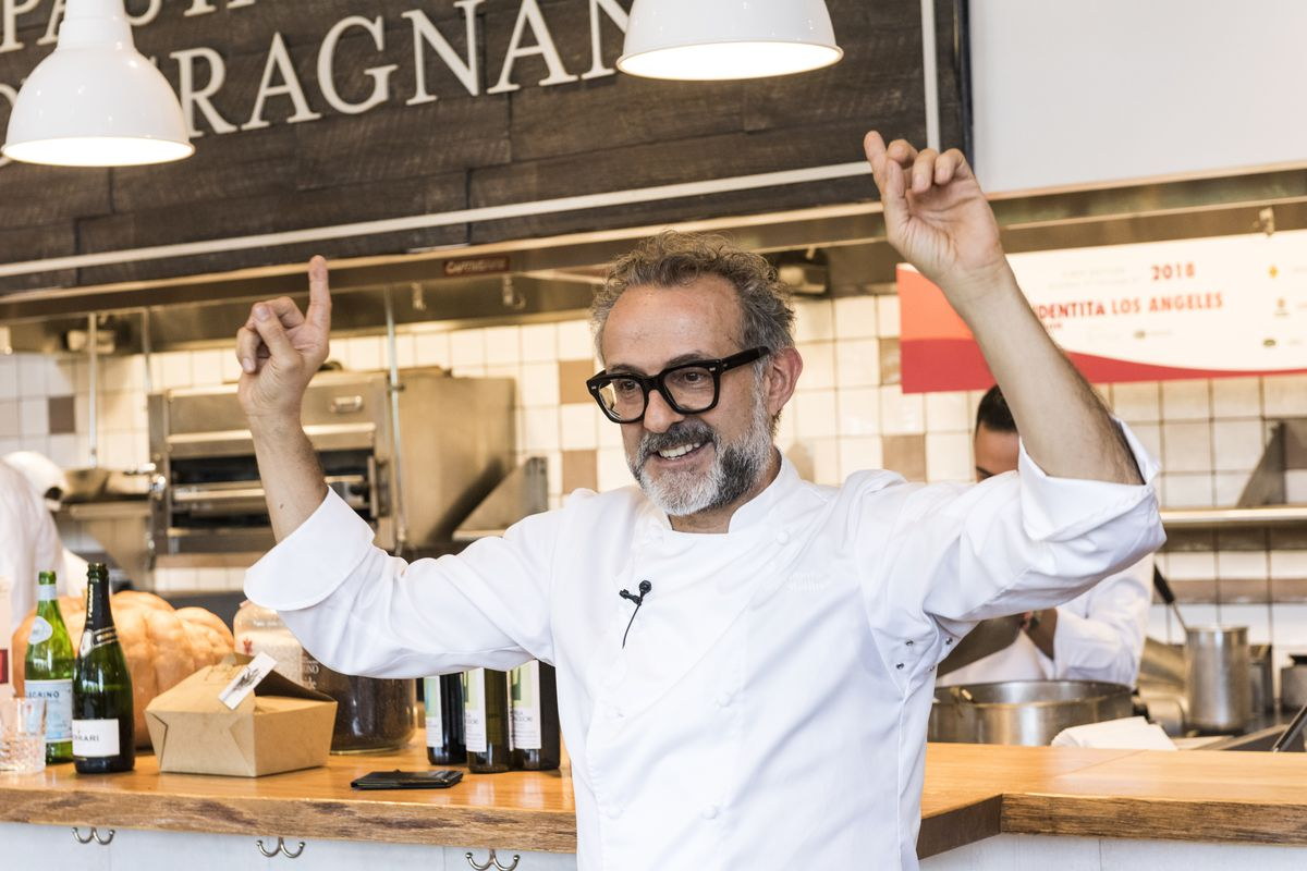 Massimo Bottura serving dishes at Eataly, Century City, Los Angeles, on October 5, 2018